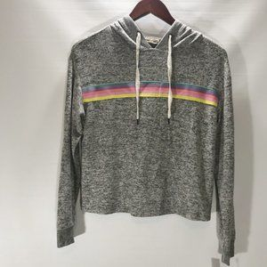 Inspired Hearts Hoodie Pullover Gray Stretch Rainb